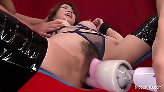 Asian babe gets toys in her pussy cum on her face