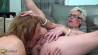 Three amateur old and young lesbians fuck