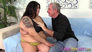 Tit fucking larger lady rides shlong