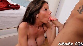 Cock fucks mature twat and tits