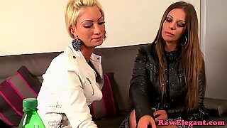 Glamorous euro lesbos play with anal beads