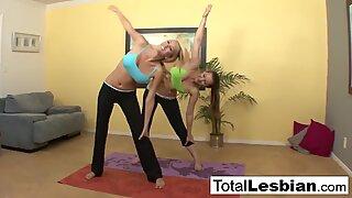 Cute yoga girls Brett & Dani pleasure each other