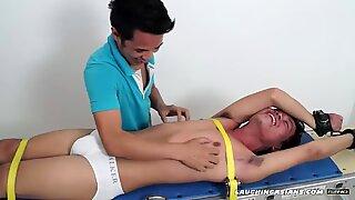 Asian Boy Jeff On The Tickle Rack