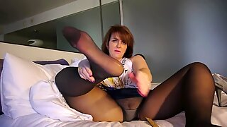 elderly chick stockings feet soles