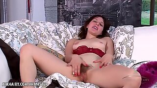 Rose Vermillion flaunts and drains her hairy puss