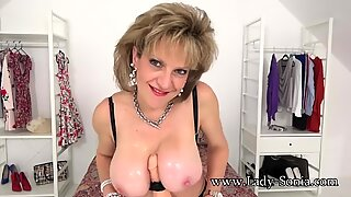 JOI from woman Sonia while she titty bangs a dildo