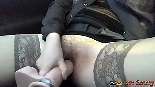 Wife Masturbate in the Car While He Drives