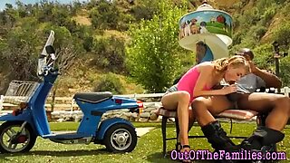 Cute stepdaughter blows