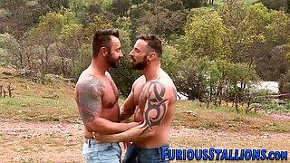 Muscled gay dude slammed