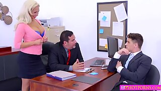 Slutty babe Olivia gets her white pussy banged hard by her boss