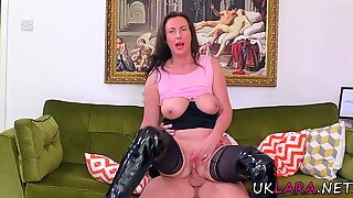British stockings milf rides dick
