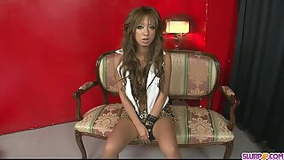 Naughty and sexy Asian babe plugging pussy with a dildo - More at Slurpjp.com