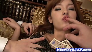 Lovely japanese beauty suck cock in threeway