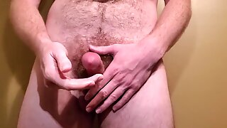 Masturbating and spewing a messy load of cum