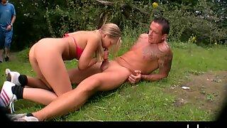 Horny hot babe rides a hard dick outdoors