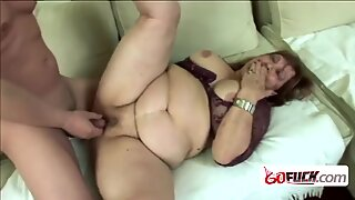 Steamy granny gets her coochie banged hard by horny studs cock