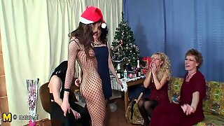 Christmas party turns into lesbian group sex