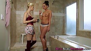 Nuru covered lesbian babe