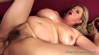 HungryGrandmas - Buxom granny gives tijob and rides cock