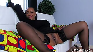 Black mom spreading in stockings