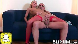Lusty blonde in erotic fishnets rides mature English senior