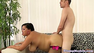 Doggystyled latina bbw enjoys sucking