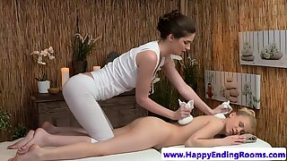 Lesbian masseuse rides ass in erotic massage