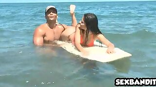 Tiny latina teen babe gets fucked on beach 02