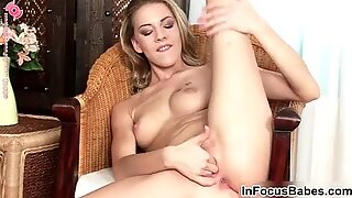 Teen blonde Bernice toying her wet pussy