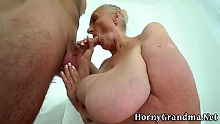 Chubby pensioner spits