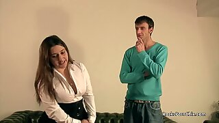 Chubby brunette porn casting with Pascal