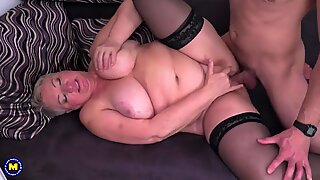 Big granny Babet suck and fuck young stud