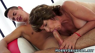 Mature granny gives head