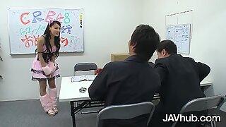 JAVHUB Schoolgirl Ren Azumi fucked by her two teachers