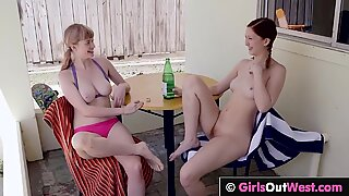 GirlsOutWest - Busty hairy lesbian hottie licked and fingered