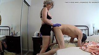 Granny fucks her gimp in the ass...