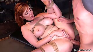 Huge tits redhead gets asshole zappered