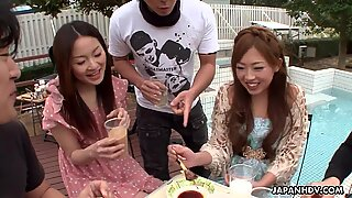 Asian gangbang outdoors