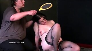 Pegged bbw slave Emmas humiliating punishment and curvy painslut whipping