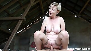 steamy blonde grandmother Sanny ravages her slaveboy GrandMams.com