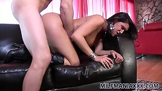 Busty brunette Charley Chase fucks doggy style on the leather couch