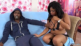 Thick and black Ms Mirage sucking and fucking