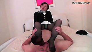 nylon stocking attendant stocking footjob