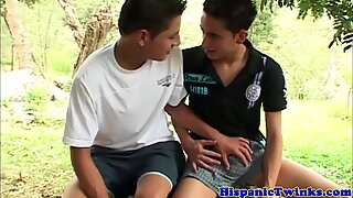 Cumswap latino twinks have outdoor threeway