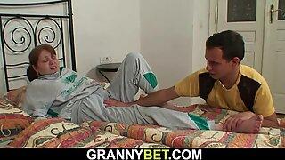 guy helps injured big-boobed hairy vulva granny