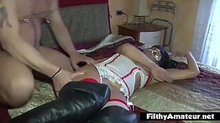 Squirting wife eats cum from sister's pussy