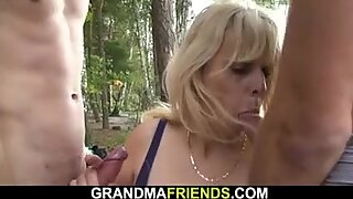 two buddy fuck hot blonde hot granny on the beach