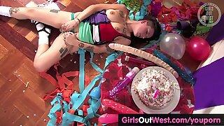 Tattooed amateur party girl masturbates on the floor